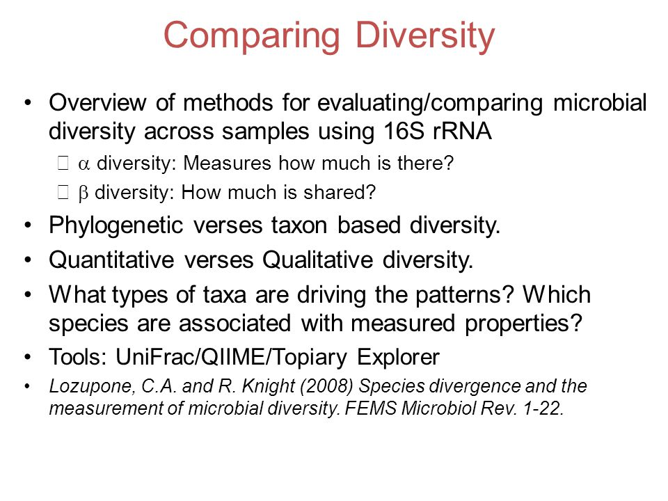 Comparing Diversity Overview of methods for evaluating/comparing microbial diversity across samples using 16S rRNA –  diversity: Measures how much is