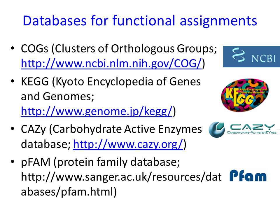 Databases for functional assignments COGs (Clusters of Orthologous Groups; http://www.ncbi.nlm.nih.gov/COG/) http://www.ncbi.nlm.nih.gov/COG/ KEGG (Ky
