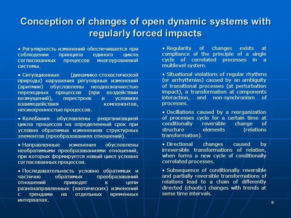 8 Conception of changes of open dynamic systems with regularly forced impacts Регулярность изменений обеспечивается при соблюдении принципа единого ци