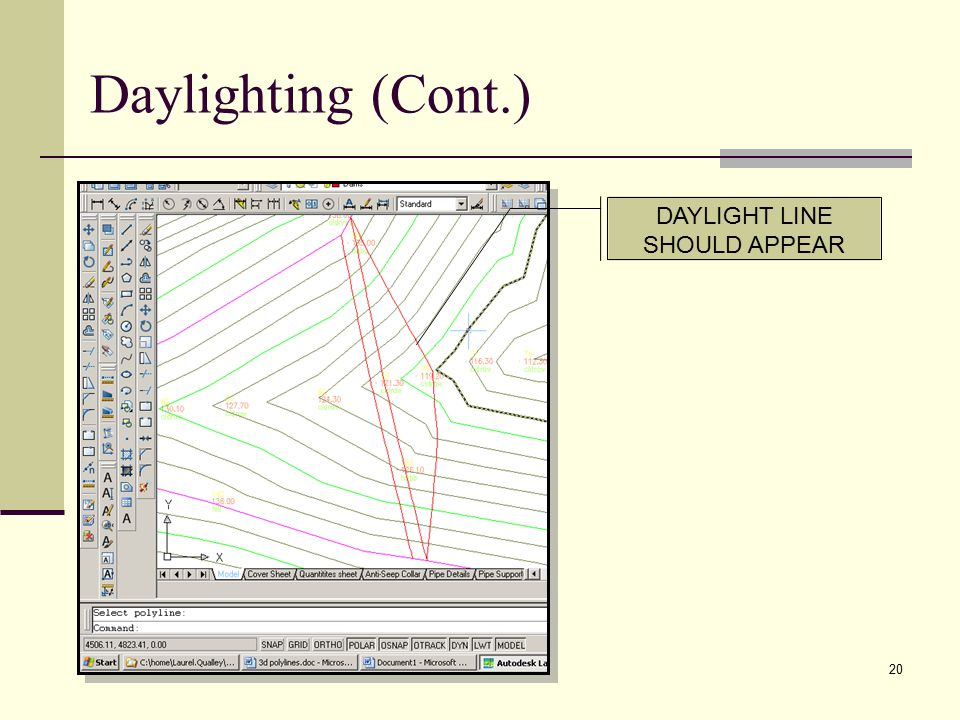 20 DAYLIGHT LINE SHOULD APPEAR Daylighting (Cont.)
