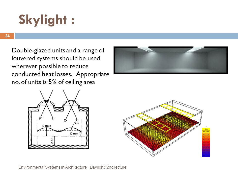 Skylight : Environmental Systems in Architecture - Daylight- 2nd lecture 24 Double-glazed units and a range of louvered systems should be used whereve