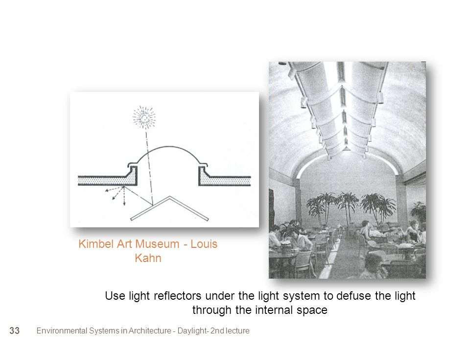 Environmental Systems in Architecture - Daylight- 2nd lecture 33 Use light reflectors under the light system to defuse the light through the internal