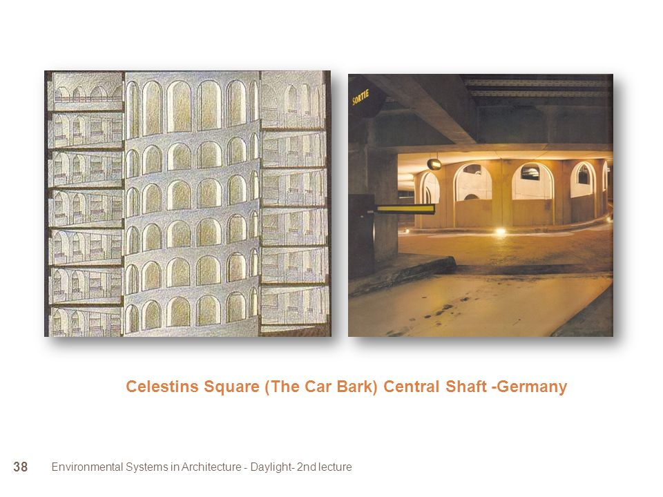 Environmental Systems in Architecture - Daylight- 2nd lecture 38 Celestins Square (The Car Bark) Central Shaft -Germany