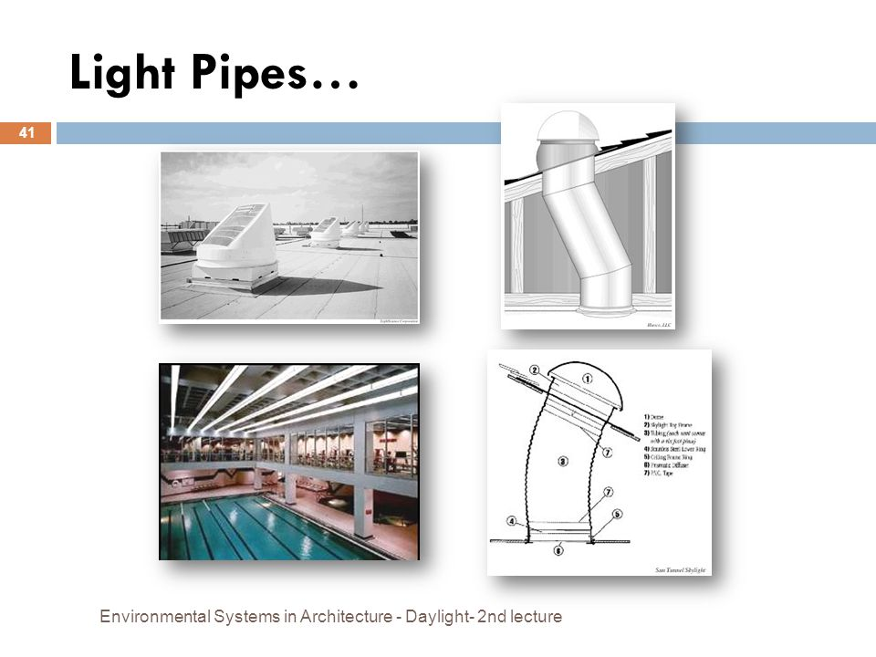 Light Pipes… Environmental Systems in Architecture - Daylight- 2nd lecture 41