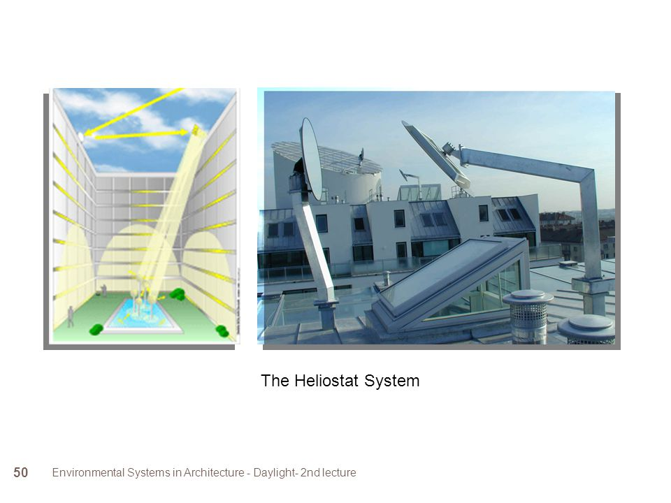 Environmental Systems in Architecture - Daylight- 2nd lecture 50 The Heliostat System