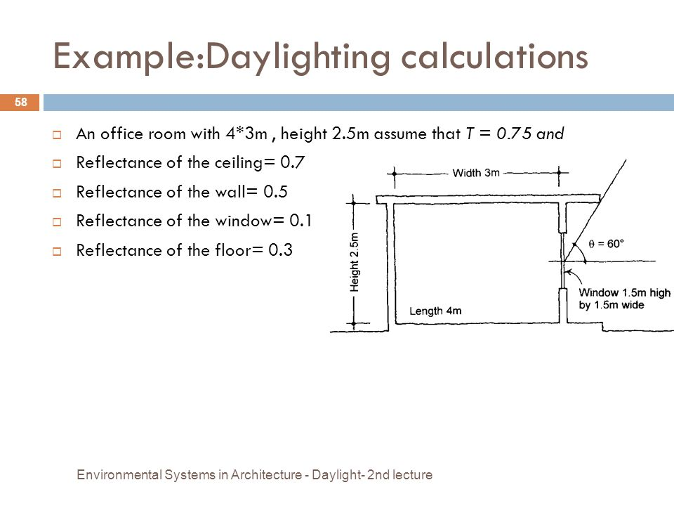 Example:Daylighting calculations  An office room with 4*3m, height 2.5m assume that T = 0.75 and  Reflectance of the ceiling= 0.7  Reflectance of t