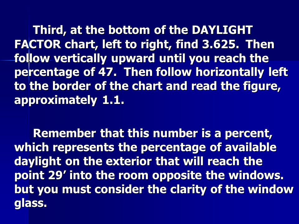 Third, at the bottom of the DAYLIGHT FACTOR chart, left to right, find 3.625.