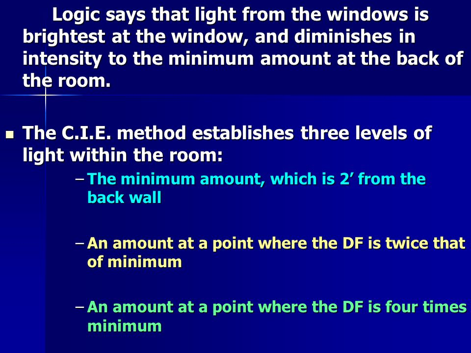 Logic says that light from the windows is brightest at the window, and diminishes in intensity to the minimum amount at the back of the room.
