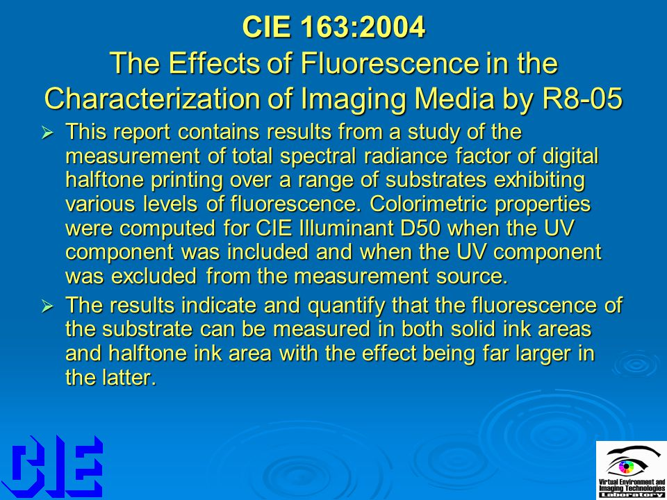 CIE 163:2004 The Effects of Fluorescence in the Characterization of Imaging Media by R8-05  This report contains results from a study of the measurem