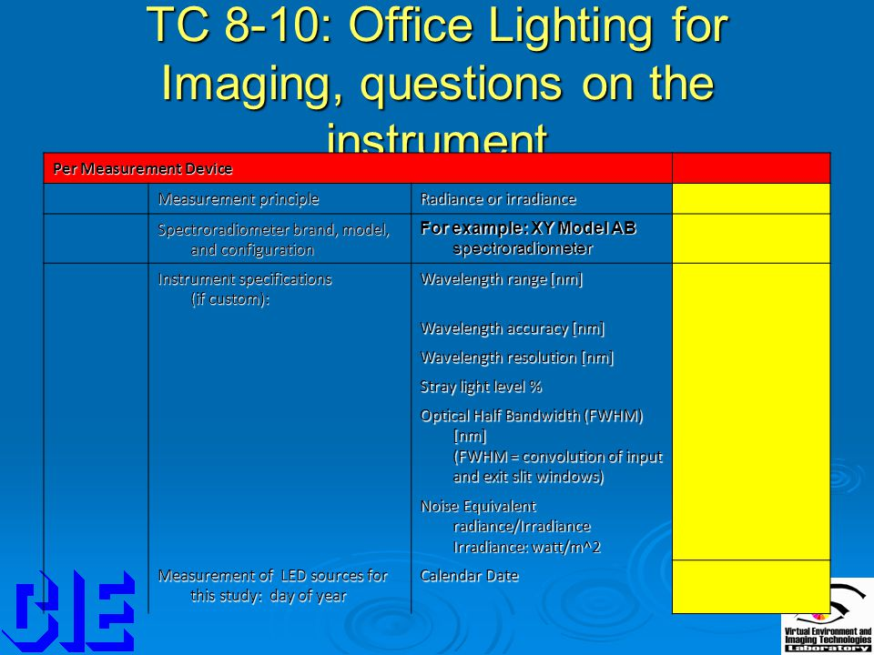 TC 8-10: Office Lighting for Imaging, questions on the instrument Per Measurement Device Measurement principle Radiance or irradiance Spectroradiometer brand, model, and configuration For example: XY Model AB spectroradiometer Instrument specifications (if custom): Wavelength range [nm] Wavelength accuracy [nm] Wavelength resolution [nm] Stray light level % Optical Half Bandwidth (FWHM) [nm] (FWHM = convolution of input and exit slit windows) Noise Equivalent radiance/Irradiance Irradiance: watt/m^2 Measurement of LED sources for this study: day of year Calendar Date