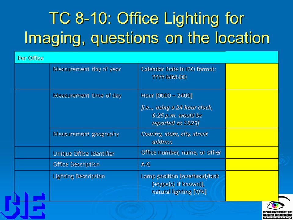 TC 8-10: Office Lighting for Imaging, questions on the location Per Office Measurement day of year Calendar Date in ISO format: YYYY-MM-DD Measurement time of day Hour [0000 – 2400] [i.e.., using a 24 hour clock, 6:25 p.m.