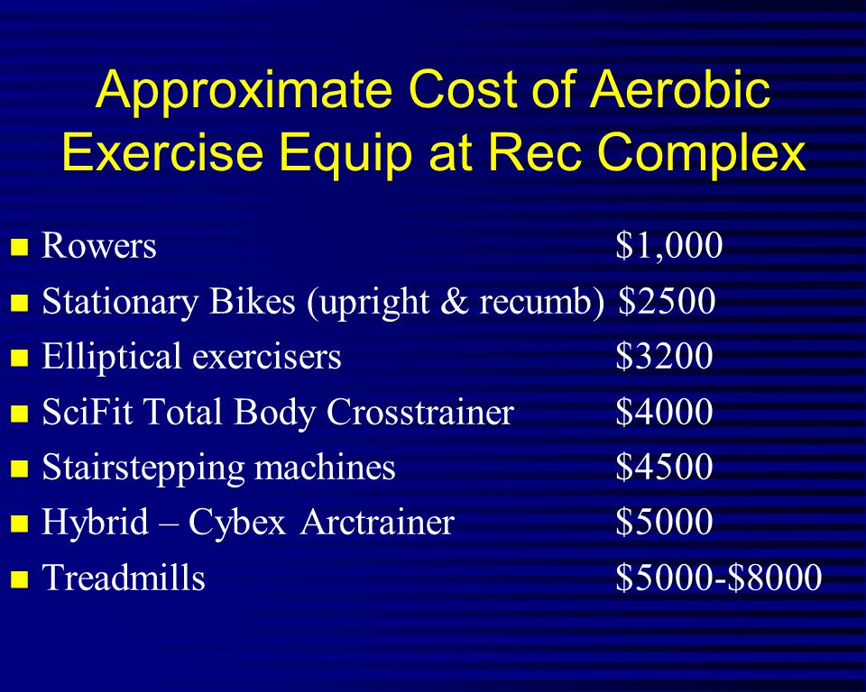 Approximate Cost of Aerobic Exercise Equip at Rec Complex n Rowers$1,000 n Stationary Bikes (upright & recumb) $2500 n Elliptical exercisers$3200 n SciFit Total Body Crosstrainer$4000 n Stairstepping machines$4500 n Hybrid – Cybex Arctrainer$5000 n Treadmills$5000-$8000