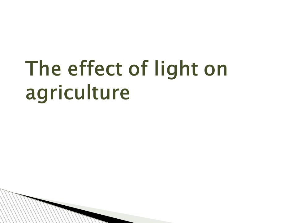 The effect of light on agriculture