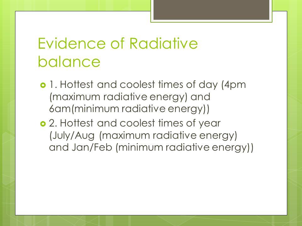 Evidence of Radiative balance  1.