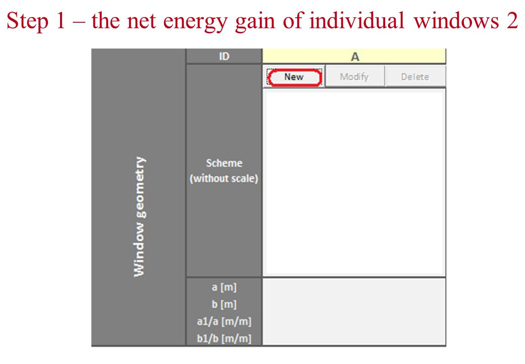 Step 1 – the net energy gain of individual windows 2