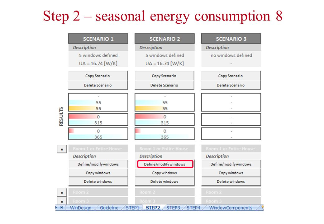 Step 2 – seasonal energy consumption 8