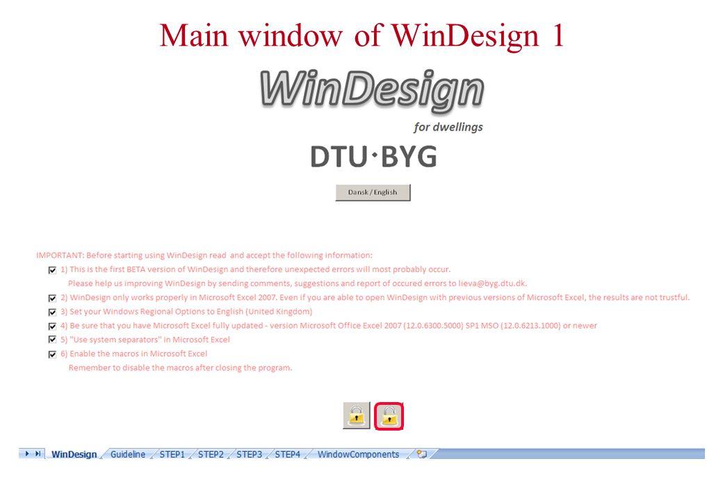 Main window of WinDesign 2