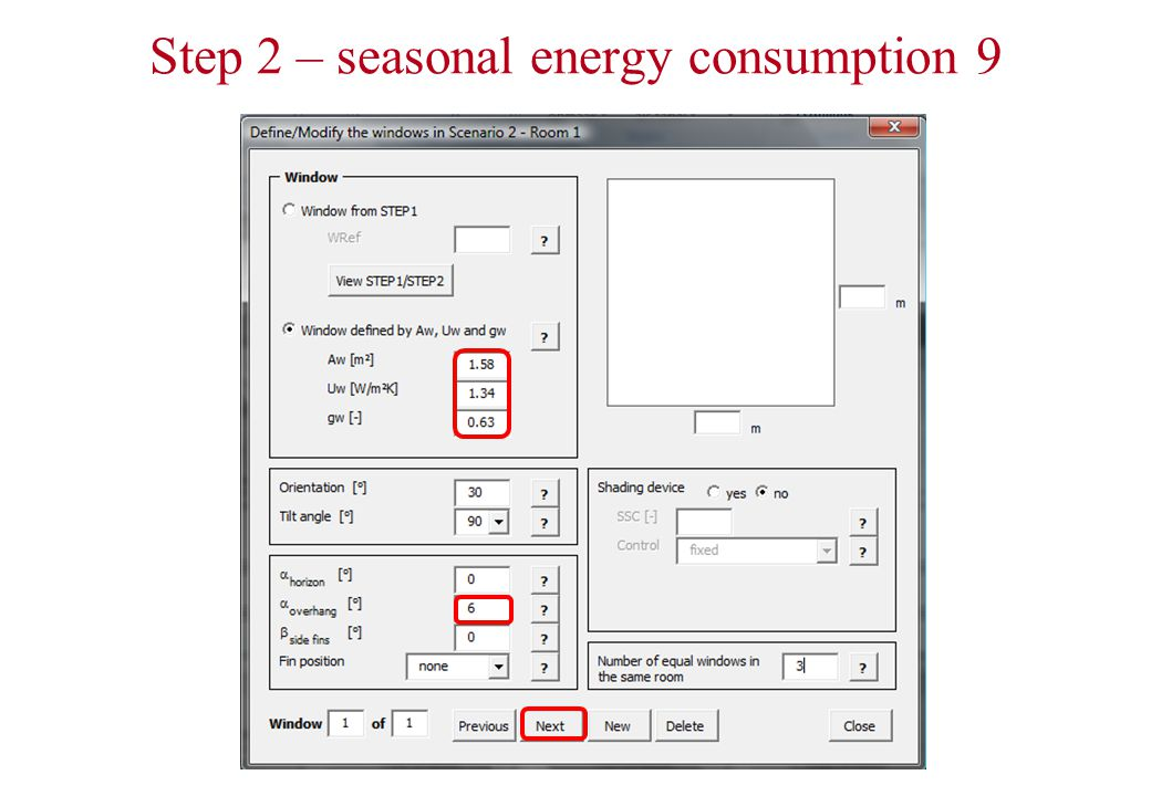 Step 2 – seasonal energy consumption 9