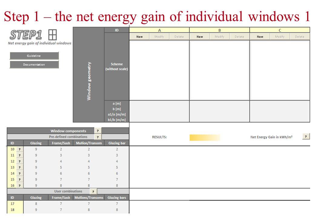 Step 1 – the net energy gain of individual windows 2