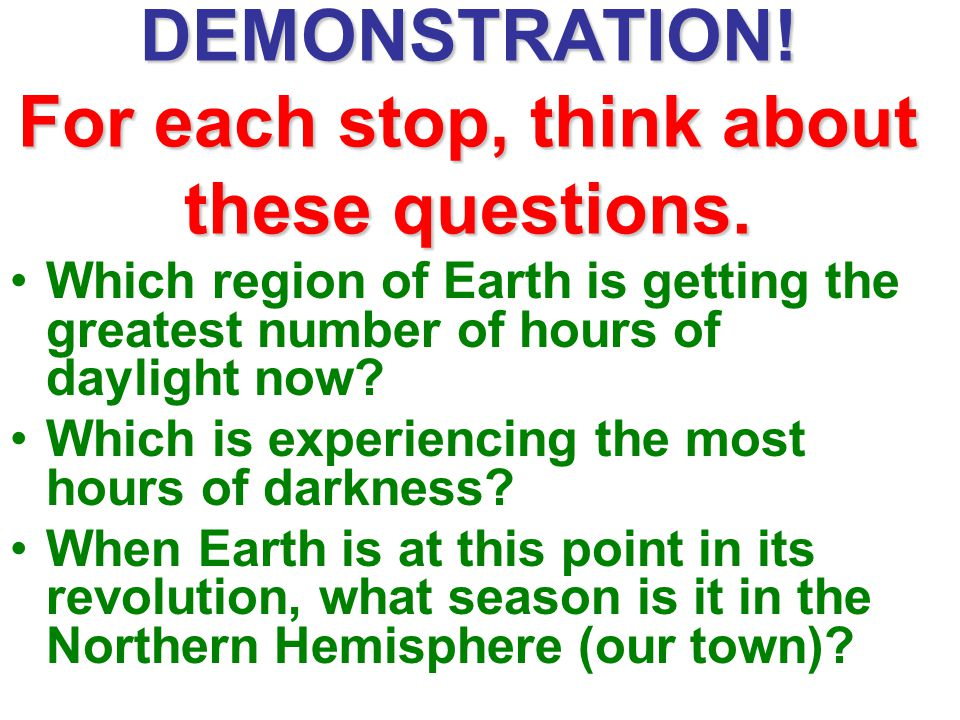 DEMONSTRATION! For each stop, think about these questions. Which region of Earth is getting the greatest number of hours of daylight now? Which is exp