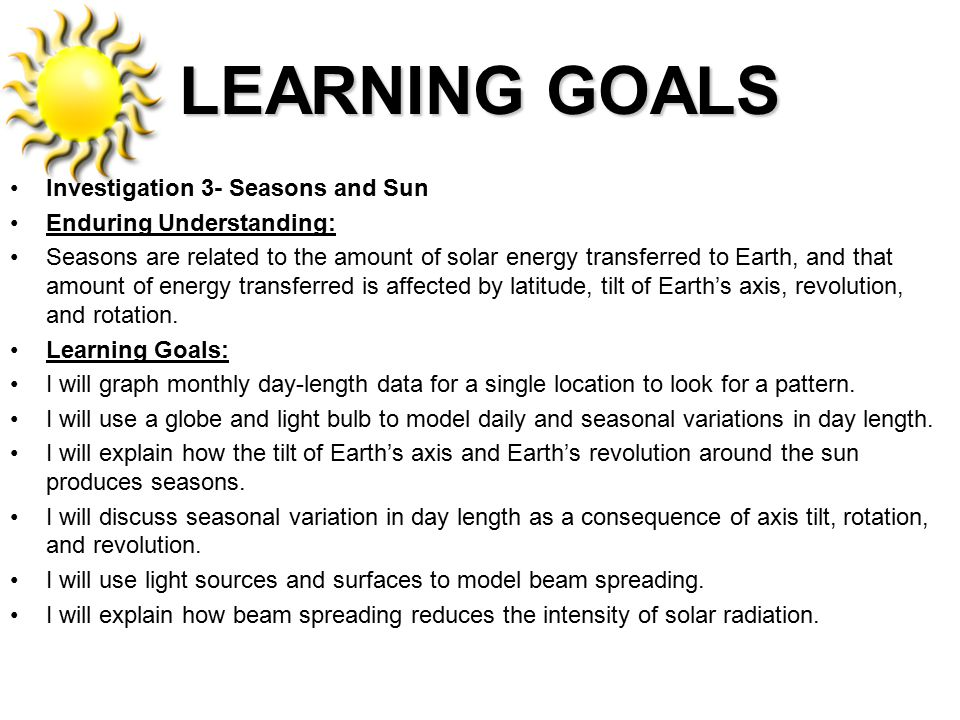LEARNING GOALS Investigation 3- Seasons and Sun Enduring Understanding: Seasons are related to the amount of solar energy transferred to Earth, and th
