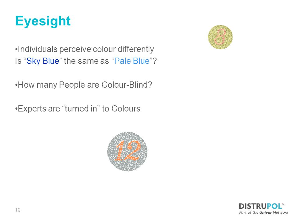 Eyesight Individuals perceive colour differently Is Sky Blue the same as Pale Blue .