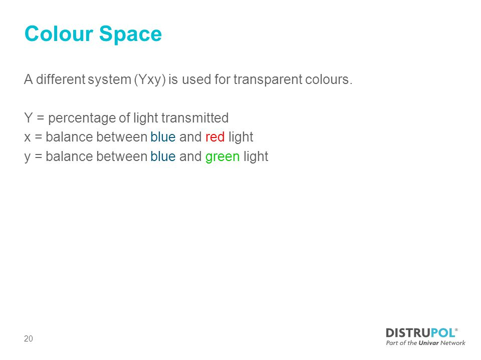 Colour Space A different system (Yxy) is used for transparent colours.