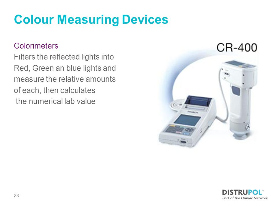 Colour Measuring Devices Colorimeters Filters the reflected lights into Red, Green an blue lights and measure the relative amounts of each, then calculates the numerical lab value 23