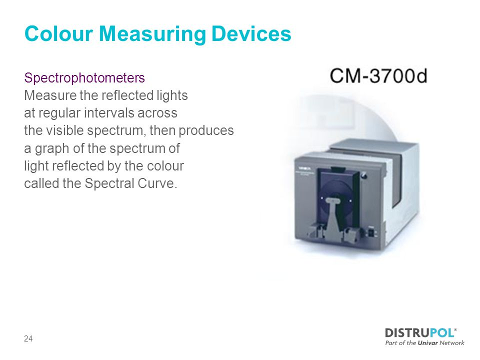 Colour Measuring Devices Spectrophotometers Measure the reflected lights at regular intervals across the visible spectrum, then produces a graph of the spectrum of light reflected by the colour called the Spectral Curve.