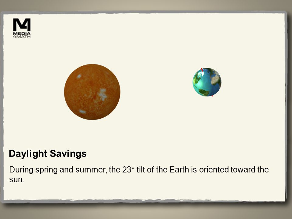 Daylight Savings During spring and summer, the 23° tilt of the Earth is oriented toward the sun.