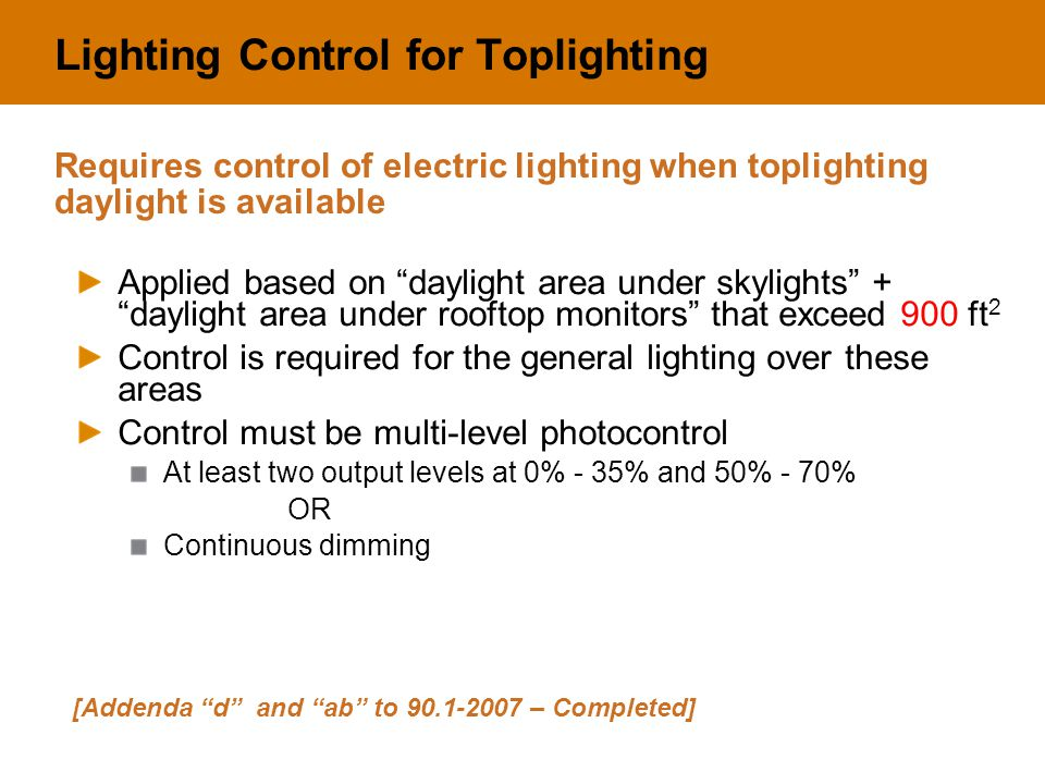 "Lighting Control for Toplighting Applied based on ""daylight area under skylights"" + ""daylight area under rooftop monitors"" that exceed 900 ft 2 Contro"