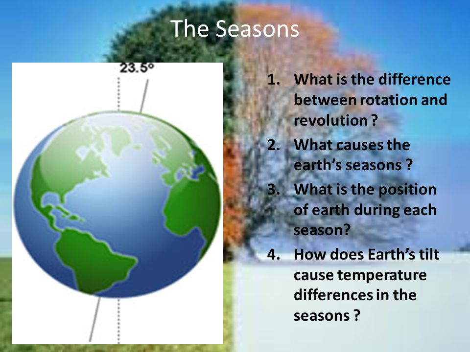 Temperature and Daylight When its Winter in an area, the sunlight is Less direct, meaning the area receives less Energy from the sun When its Summer in an area, the sunlight is More direct, meaning the area receives more Energy from the sun