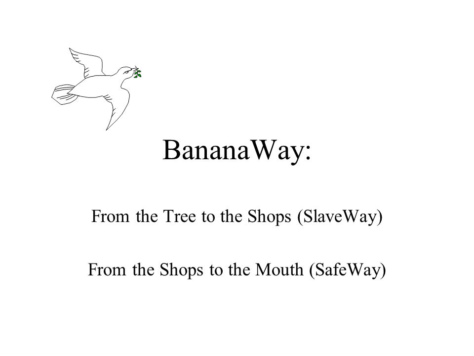 BananaWay: From the Tree to the Shops (SlaveWay) From the Shops to the Mouth (SafeWay)