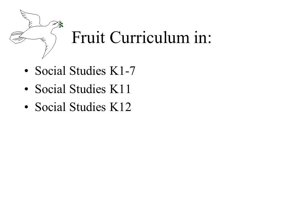 Fruit Curriculum in: Social Studies K1-7 Social Studies K11 Social Studies K12
