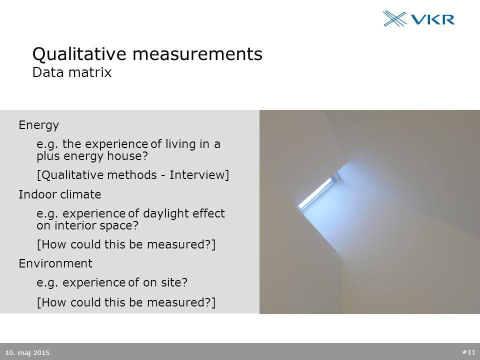 Qualitative measurements Data matrix 10. maj 2015 #11 Energy e.g.