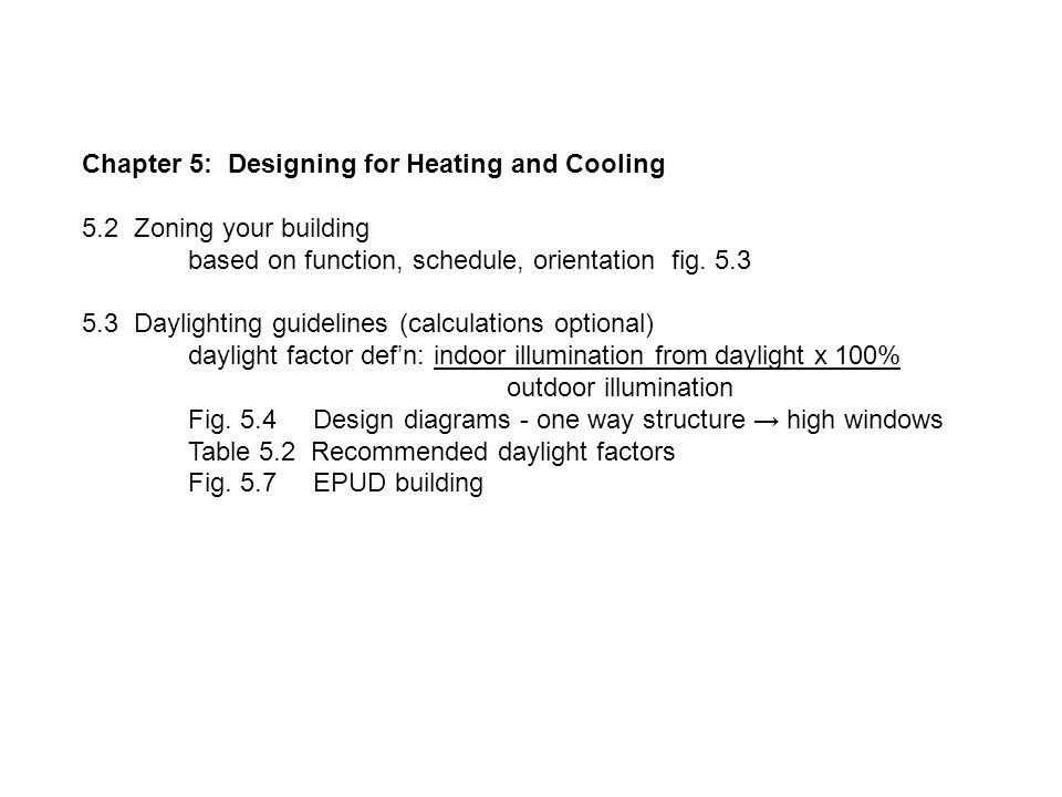 Chapter 5: Designing for Heating and Cooling 5.2 Zoning your building based on function, schedule, orientation fig.