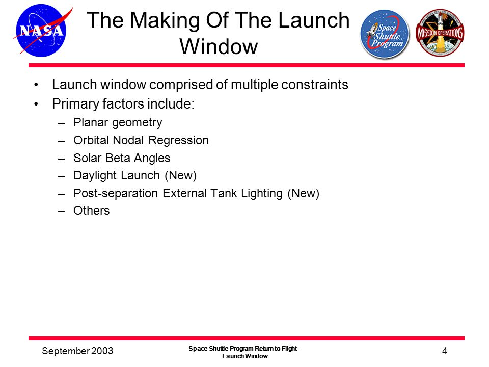 September 2003 Space Shuttle Program Return to Flight - Launch Window 4 The Making Of The Launch Window Launch window comprised of multiple constraints Primary factors include: –Planar geometry –Orbital Nodal Regression –Solar Beta Angles –Daylight Launch (New) –Post-separation External Tank Lighting (New) –Others