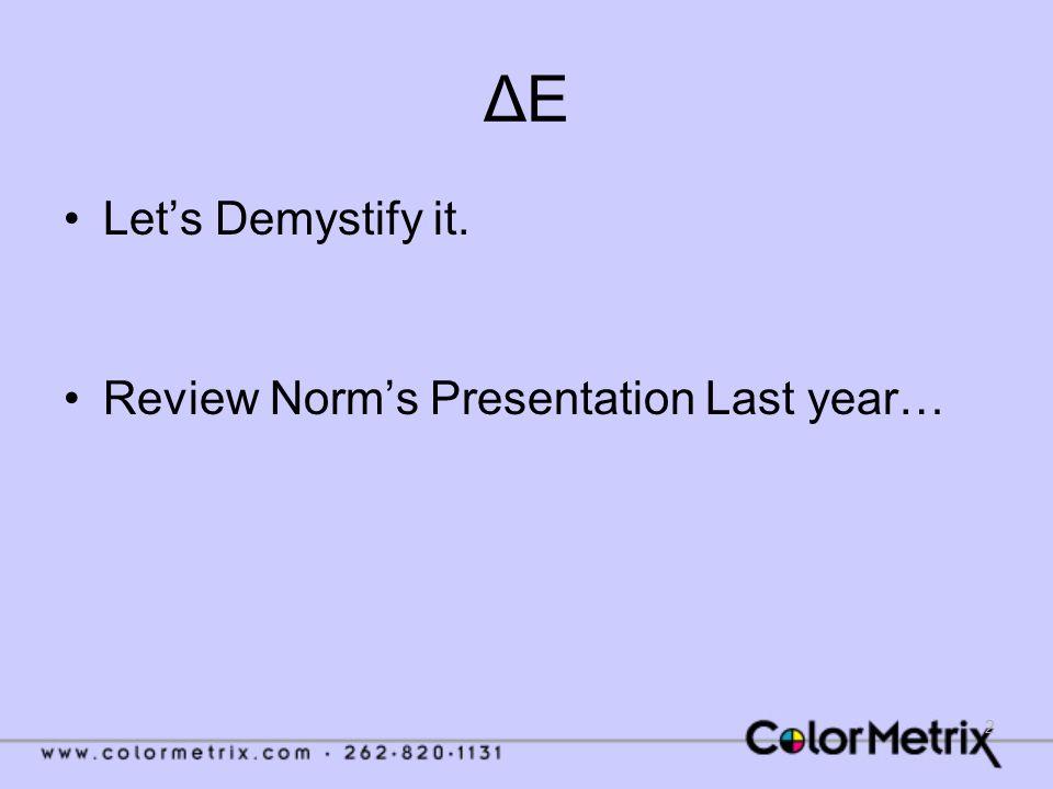 2 ΔEΔE Let's Demystify it. Review Norm's Presentation Last year…