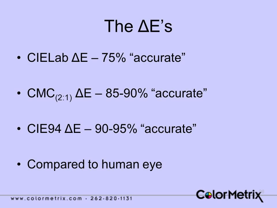 """26 The ΔE's CIELab ΔE – 75% """"accurate"""" CMC (2:1) ΔE – 85-90% """"accurate"""" CIE94 ΔE – 90-95% """"accurate"""" Compared to human eye"""