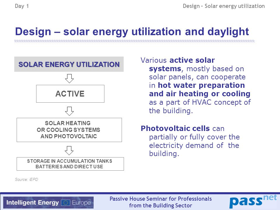 Passive House Seminar for Professionals from the Building Sector Design – solar energy utilization and daylight Various active solar systems, mostly based on solar panels, can cooperate in hot water preparation and air heating or cooling as a part of HVAC concept of the building.