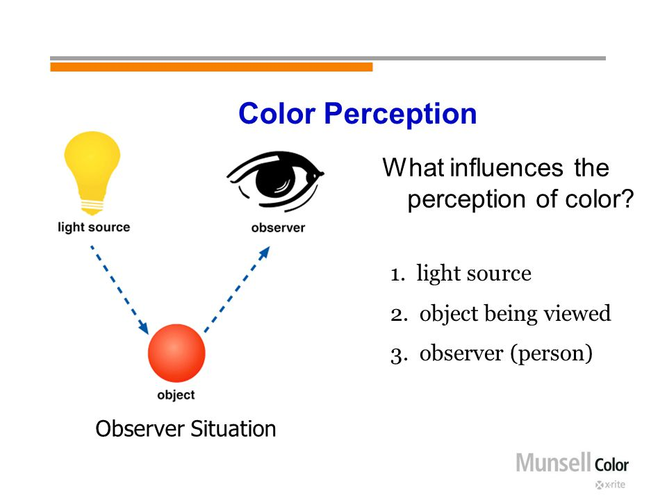 What influences the perception of color? 1. light source 2. object being viewed 3. observer (person) Observer Situation Color Perception