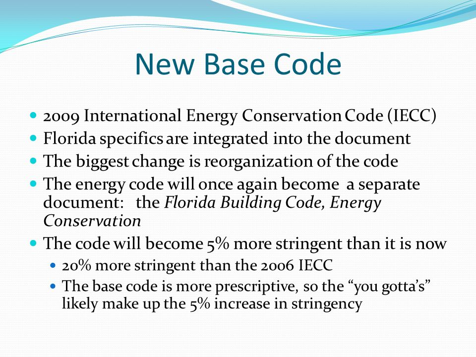 NEW CODE FORMAT Chapter 1ADMINISTRATION Chapter 2DEFINITIONS Chapter 3DESIGN CRITERIA (GENERAL) Chapter 4RESIDENTIAL ENERGY EFFICIENCY Chapter 5COMMERCIAL ENERGY EFFICIENCY Chapter 6REFERENCED STANDARDS Appx AJURISDICTIONAL DATA Appx BCRITERIA FOR COMPUTER MODELING Appx CFORMS