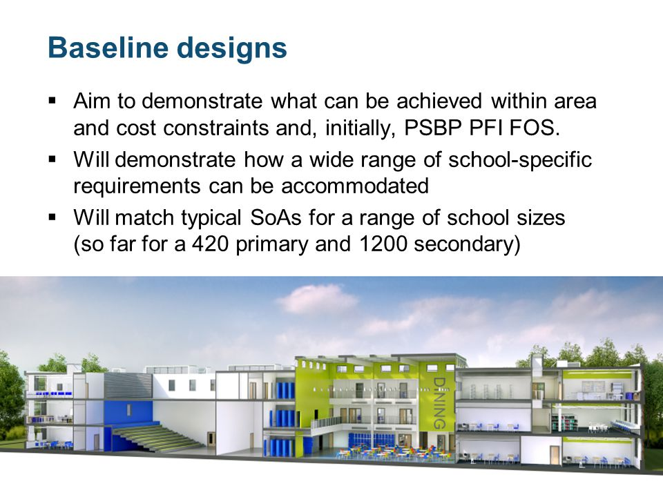 Baseline designs  Aim to demonstrate what can be achieved within area and cost constraints and, initially, PSBP PFI FOS.