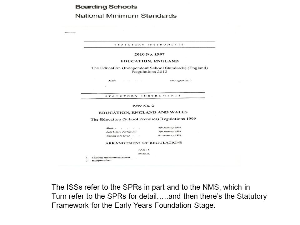 The ISSs refer to the SPRs in part and to the NMS, which in Turn refer to the SPRs for detail…..and then there's the Statutory Framework for the Early Years Foundation Stage.