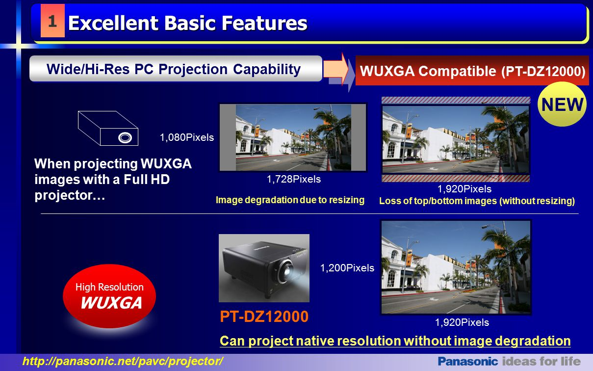 http://panasonic.net/pavc/projector/ 1,920Pixels Can project native resolution without image degradation 1,200Pixels 1 WUXGA Compatible (PT-DZ12000) High Resolution WUXGA When projecting WUXGA images with a Full HD projector… Image degradation due to resizing 1,728Pixels 1,080Pixels 1,920Pixels Loss of top/bottom images (without resizing) Excellent Basic Features Wide/Hi-Res PC Projection Capability PT-DZ12000 NEW