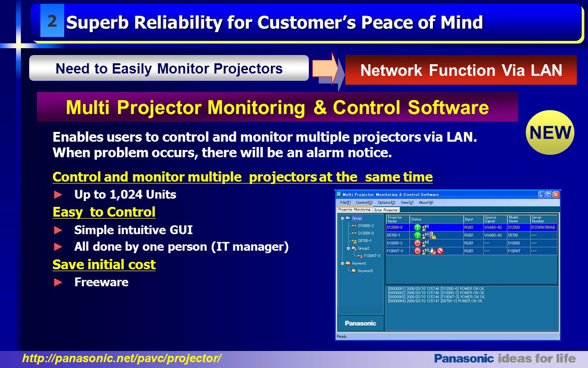 http://panasonic.net/pavc/projector/ Control and monitor multiple projectors at the same time ► Up to 1,024 Units Easy to Control ► Simple intuitive GUI ► All done by one person (IT manager) Save initial cost ► Freeware Enables users to control and monitor multiple projectors via LAN.