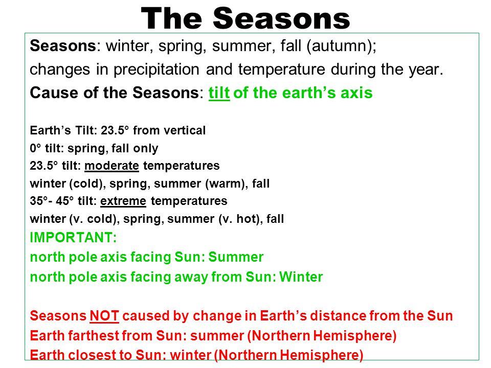 The Seasons Solstice: shortest or longest day of the year Northern Hemisphere (NYS) Summer Solstice - June 21 N.P.