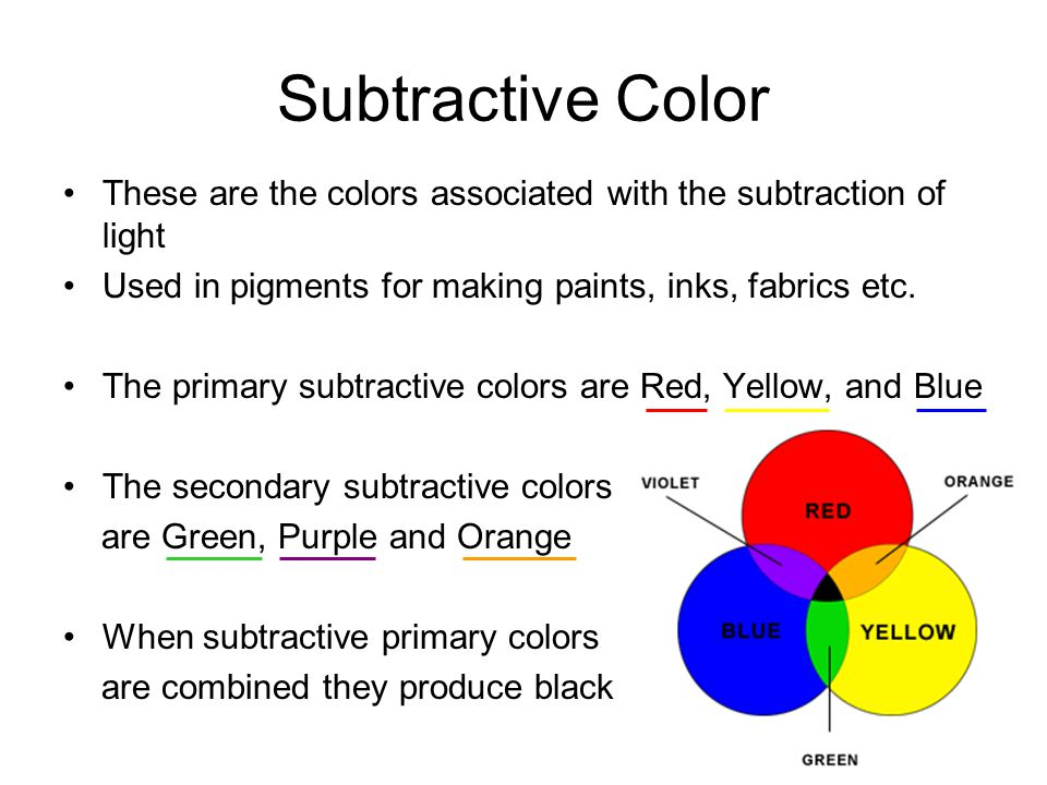 Subtractive Color These are the colors associated with the subtraction of light Used in pigments for making paints, inks, fabrics etc. The primary sub