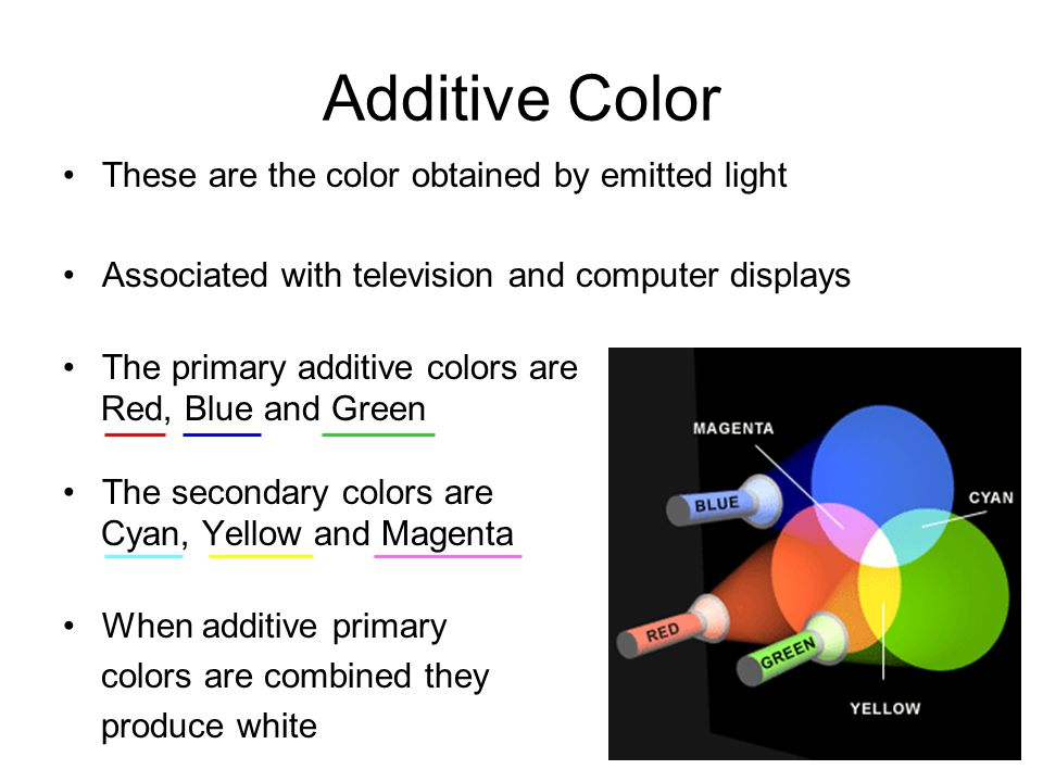 Additive Color These are the color obtained by emitted light Associated with television and computer displays The primary additive colors are Red, Blu