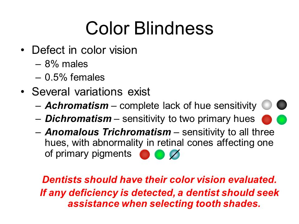 Color Blindness Defect in color vision –8% males –0.5% females Several variations exist –Achromatism – complete lack of hue sensitivity –Dichromatism